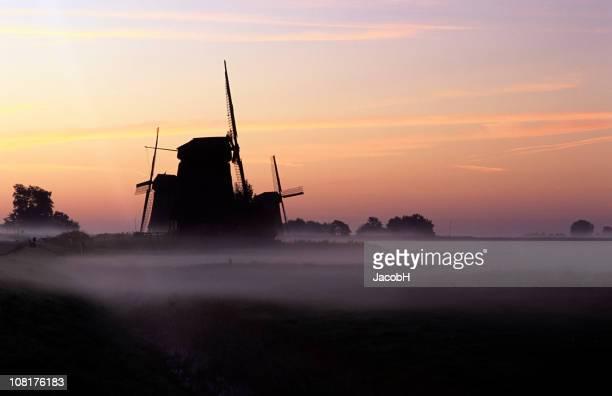 Windmill Silhouette Sunrise in Holland