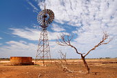 Windmill water pump in Australian outback, Nullarbor Plain, Western Australia