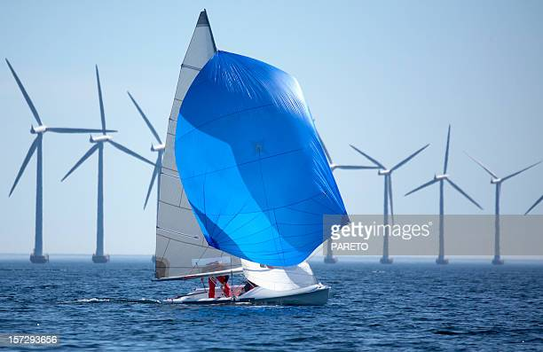 Windmills and a sailboat in the middle of the sea