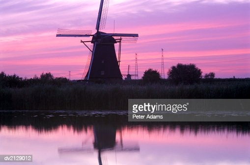 Windmills at Kinderdijk, Netherlands : Stock Photo