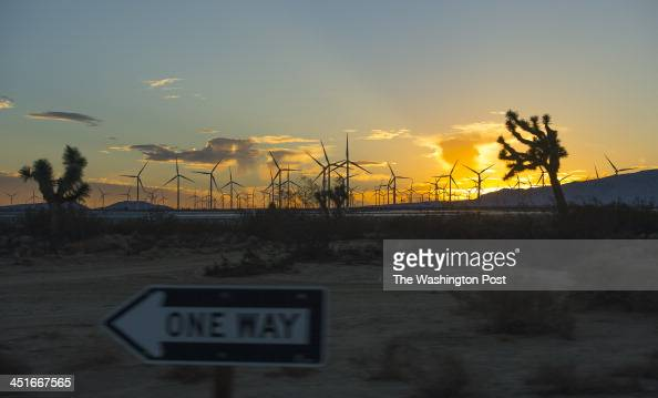 MOJAVE CA OCTOBER Windmills fill the desert ground near the Mojave Air and Space Port on October 23 2013 in Mojave Ca