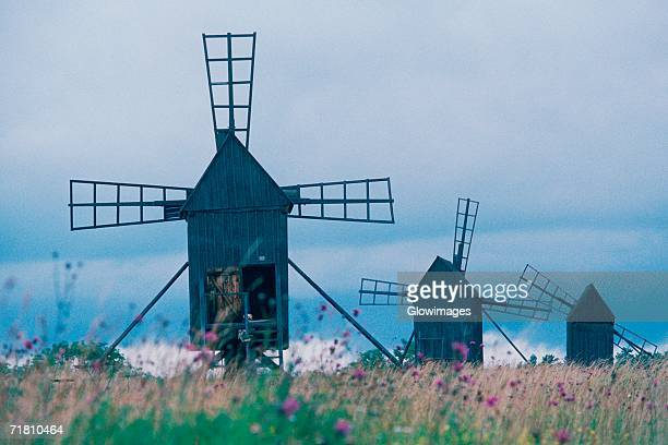 Windmills in a field, Oland, Sweden
