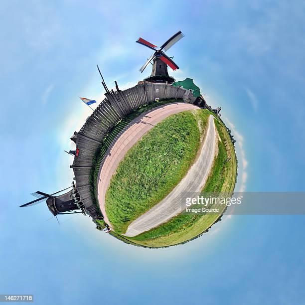 Windmills of Zaanse Schans, Netherlands, little planet effect