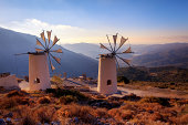 Windmills on the Mountains at Lassithi, Crete