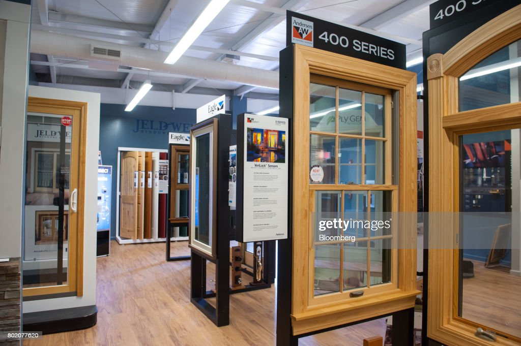 Window And Door Frames Stand On Display For Sale At The 84 Lumber Co Retail  Store