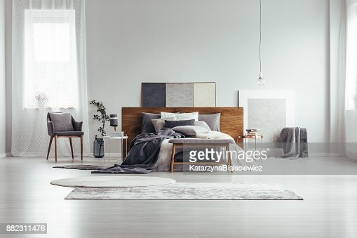 Window and paintings in bedroom : Stock Photo