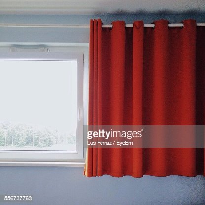 Window And Red Curtain