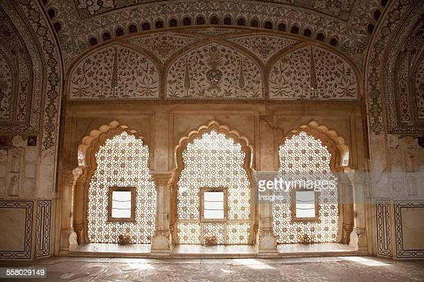 Window At The Jas Mandir Amber Fort Rajasthan India