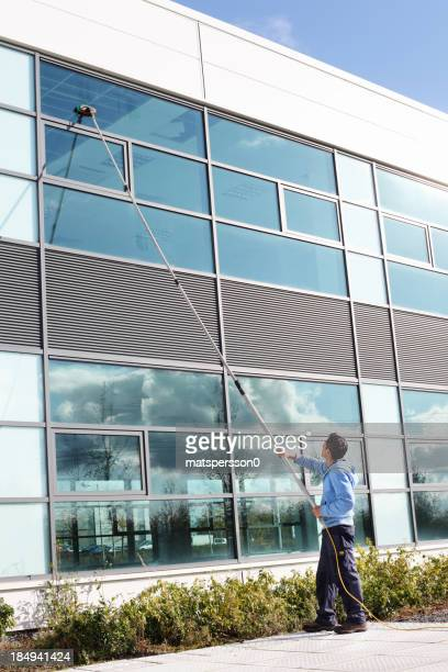 Window cleaner using the water fed pole system