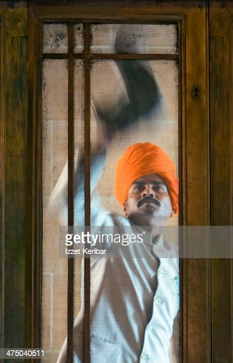 Window cleaning time at the Mehrangarh Fort : Stock Photo