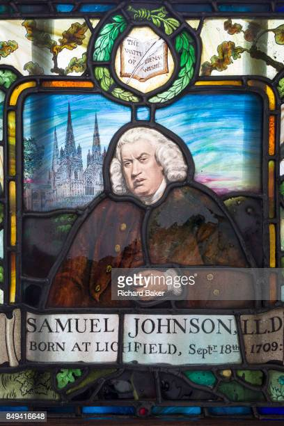A window detail of Dr Samuel Johnson in his museum house on 17th September 2017 in the City of London England Samuel Johnson often referred to as Dr...