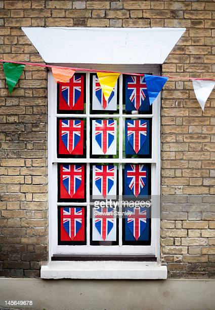 A window display at the Ightham medieval Coxcombe Fair to celebrate Queen Elizabeth II's Diamond Jubilee on June 03 2012 in Ightham England For only...