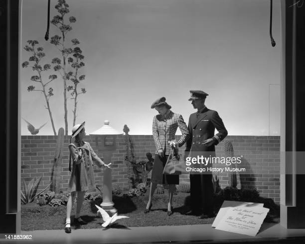 Window Display for Easter Parade Clothing at Marshall Field Company Sunningdale shop Chicago Illinois April 14 1944