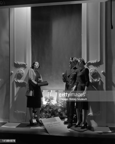 Window Display for Easter Parade Clothing at Marshall Field Company Coat shop misses dresses Chicago Illinois April 14 1944