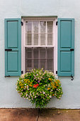 a window box overflowing with flowers sits below a window with turquoise shutters