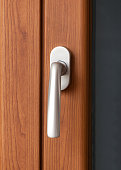 Window handle silver satin with faux wood frame