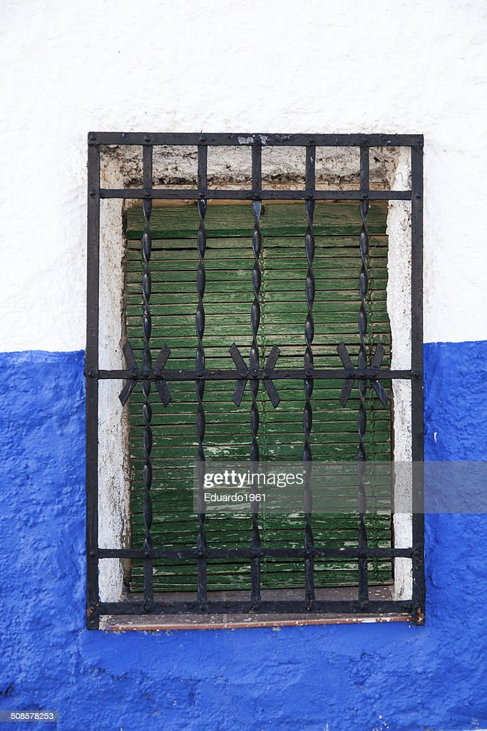 Window in Andalusian white villages in Spain : Stock Photo