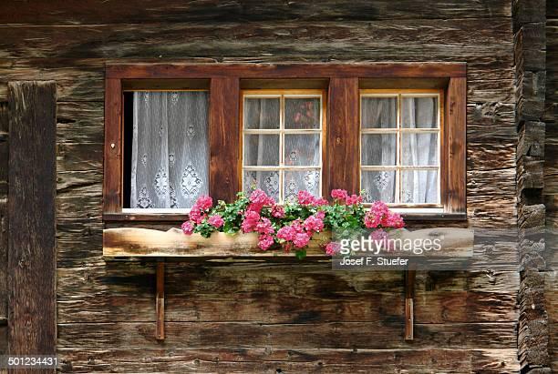 Window of wooden farm house