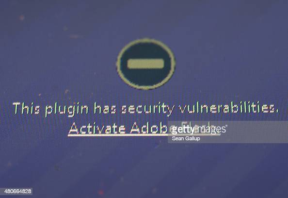 A window on the Mozilla Firefox browser shows the browser has blocked the Adobe Flash plugin from activating due to a security issue on July 14 2015...