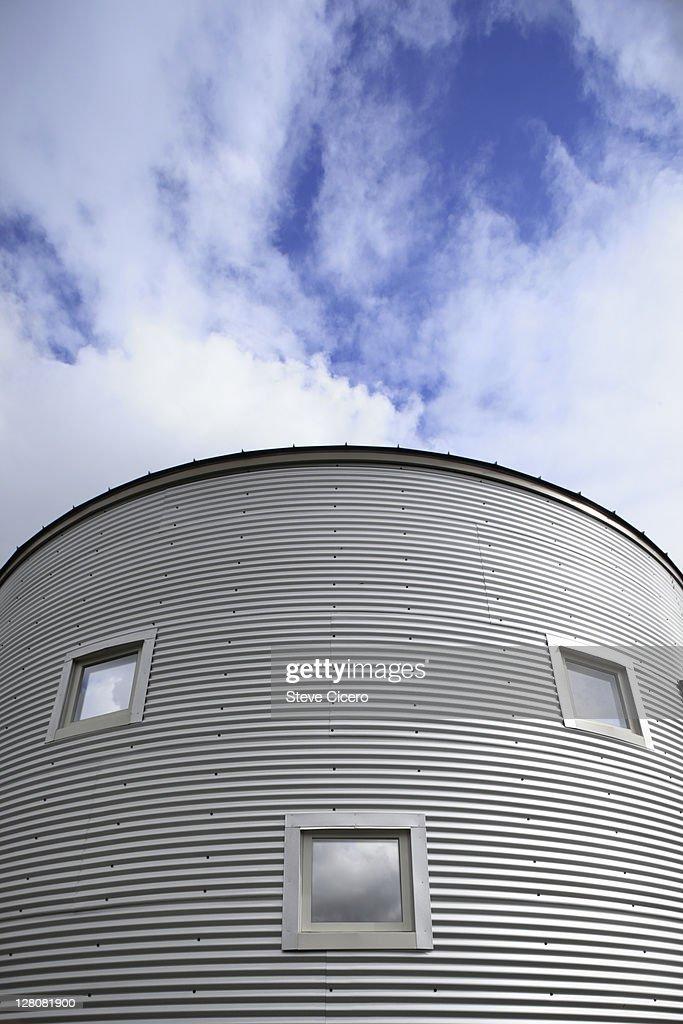 Window pattern on corrigated metal building