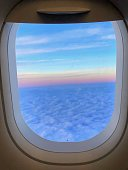 View through the window of an airplane