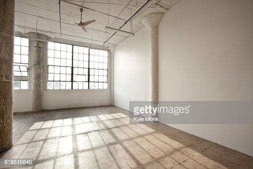 Window shadows in empty loft