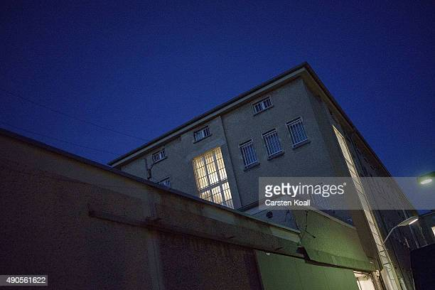 A window shines during a concert of the former East German rock band 'Speiches Monokel' at Hohenschoenhausen memorial and former prison of the East...