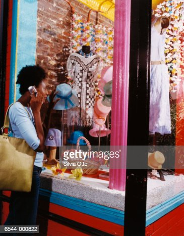 Window Shopper Using Cellphone