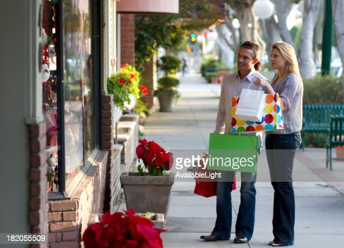 Shopping Couple Woman Points