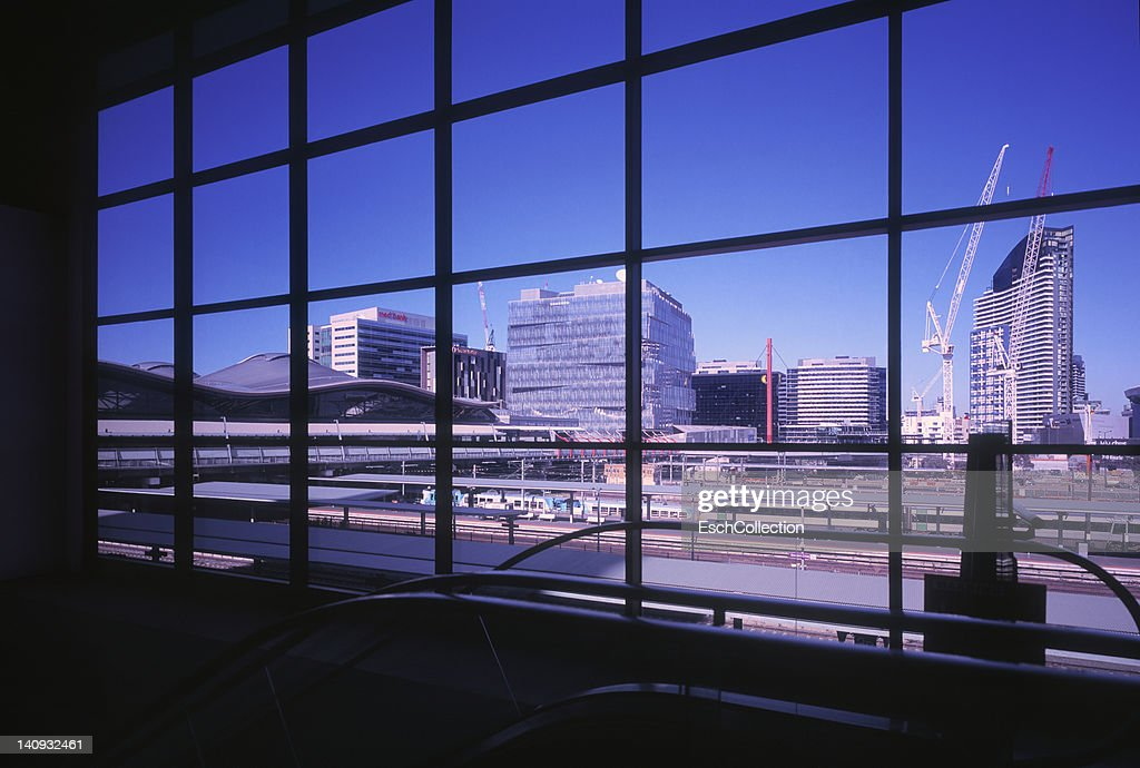 Window view Melbourne and Southern Cross Station : Stock Photo