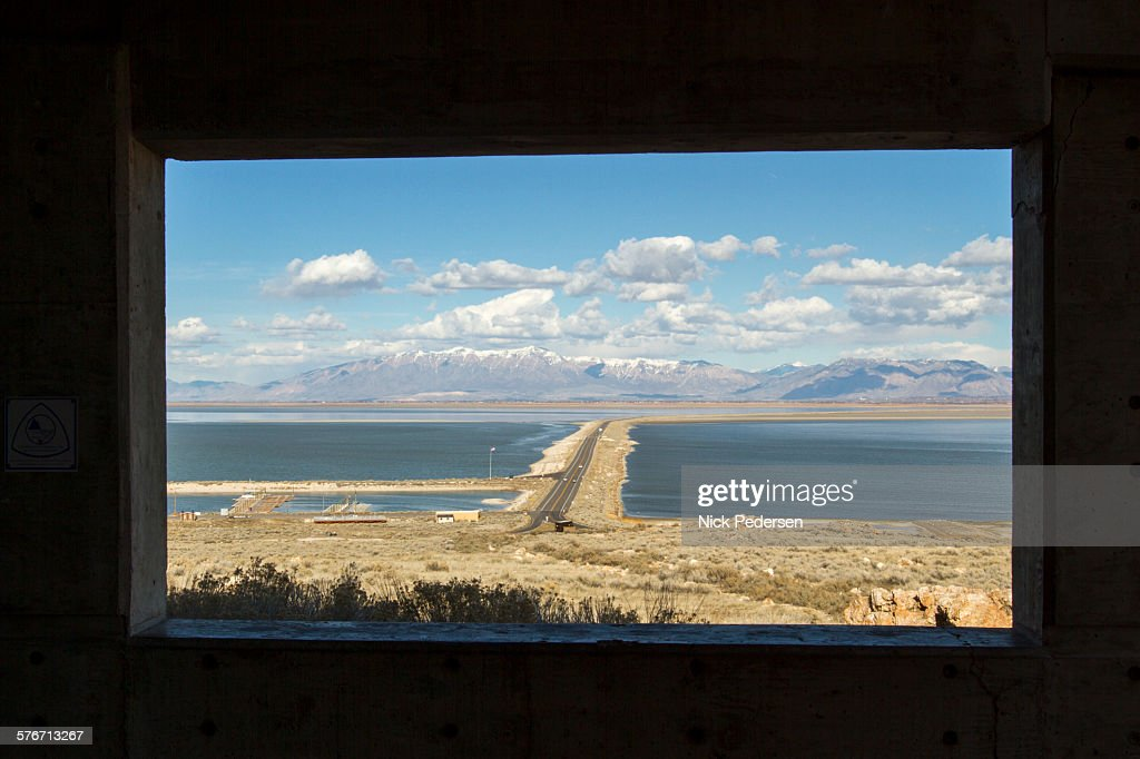 Window view of Antelope Island