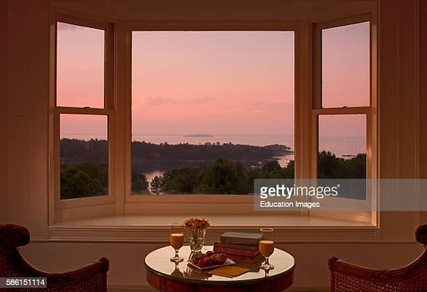 Window view of dawn at Penobscot Bay Norumbega Inn Camden ME