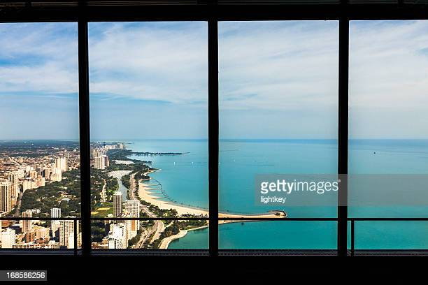Window view of lake shore Chicago, USA.