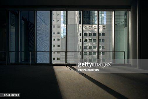 Window view of Umeda Sky Building in Osaka, Japan