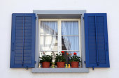 rustic window with blue shutters and flower pots in white rural house, Switzerland.