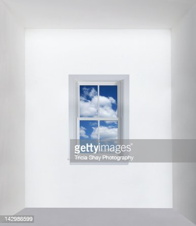 Window with blue sky in white room : Stock Photo