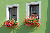 Geranium planters at Rothenburg ob der Tauber at the romantic street Germany
