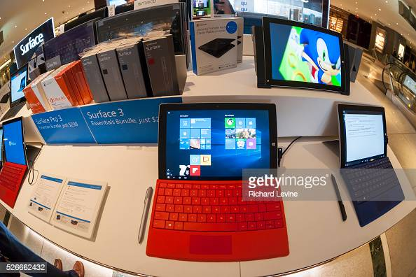 Windows 10 is seen running on a Surface computer at a Microsoft kiosk in the Time Warner Center in New York on Thursday July 30 2015 Microsoft...