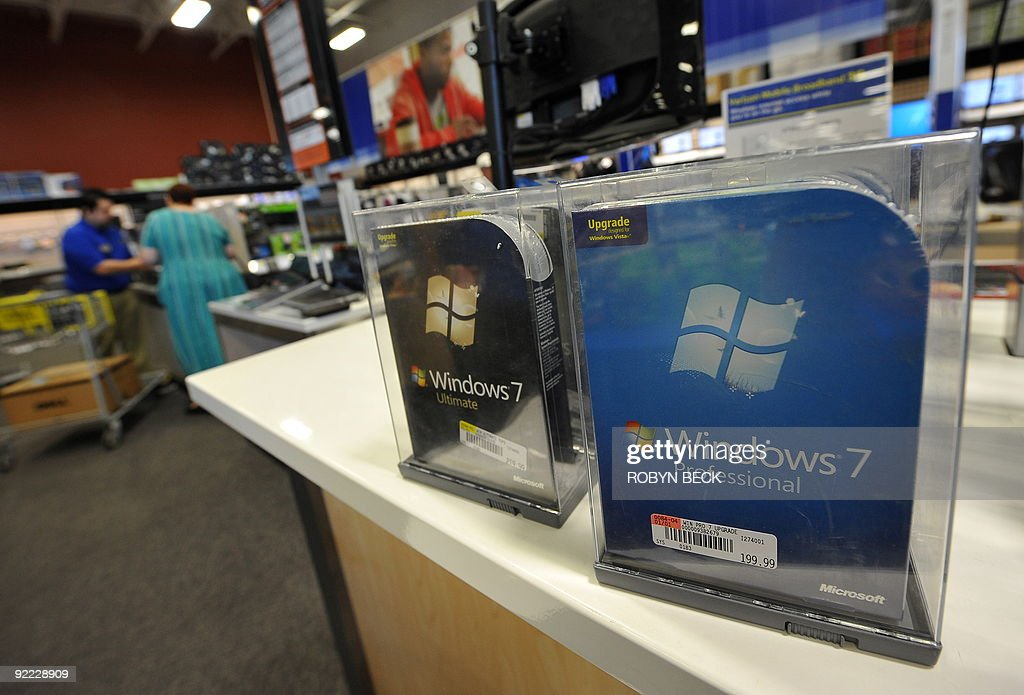 A Windows 7 is for sale at an electronics store in Los Angeles, California on October 22, 2009, the official release date of Microsoft's newest operating system. Microsoft's much-heralded Windows 7 went on sale around the world Thursday as the US software giant seeks to reboot after the disappointment of its previous generation operating system Vista. AFP PHOTO / Robyn Beck