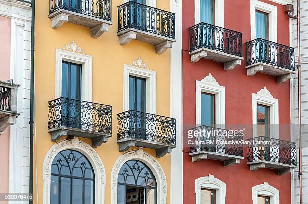 Windows and balconies detail, Piazza Grande, Locarno, Locarno District, Ticino, Switzerland