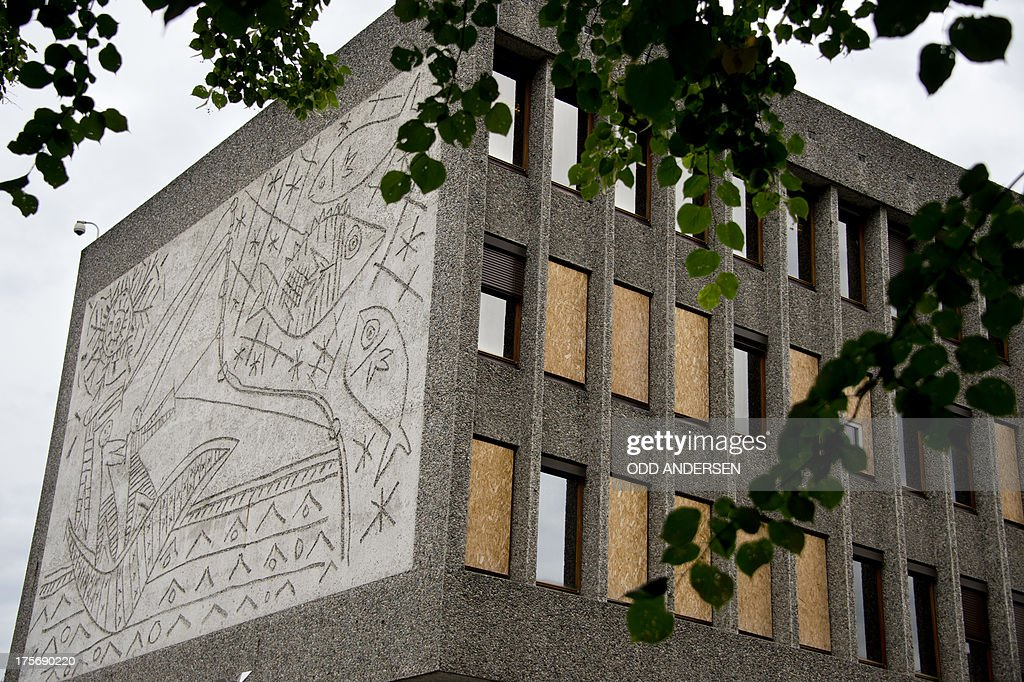 Windows are boarded up on the government quarter's 'Y' building with Picasso's mural art work 'The Fisherman' in Oslo, Norway on August 6, 2013. The art work survived the 22nd July 2011 bombing unscathed, but other government buildings bearing the artist's murals were severely damaged. The Norwegian Directorate for Cultural Heritage fears that Picasso's first monumental concrete murals, which were made between the late 1950s and the early 1970s for two government buildings in Oslo, may be destroyed. The buildings were severely damaged during the deadly terrorist attack in the Norwegian capital in July 2011. The government is now considering whether to demolish the Modernist buildings that form the regjeringskvartal or government quarter.