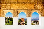 Windows at the Alhambra, Granada, Spain.