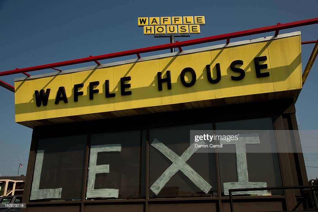 Windows at the Waffle House restaurant in Prattville, Alabama are decorated to show support for Lexi Thompson during the 2012 Navistar LPGA Classic on September 22, 2012.