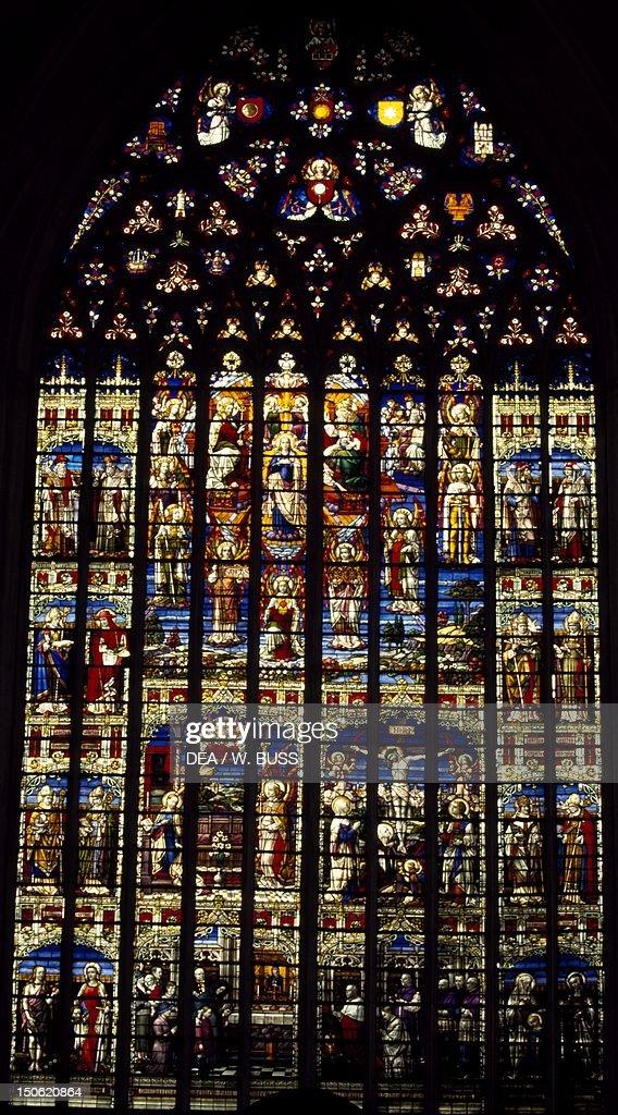 Windows from St Rumbold's Cathedral Mechelen Detail Belgium