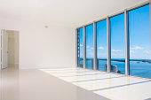 Windows in empty modern living space