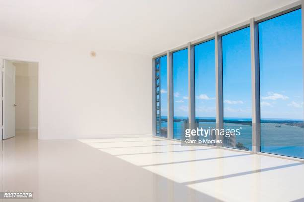 Windows in empty modern living space