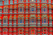 This close-up image of the windows or jharokhas of Hawa Mahal shows the immense talent of the Indian architects,masons, and craftsmen in the 18th.century.