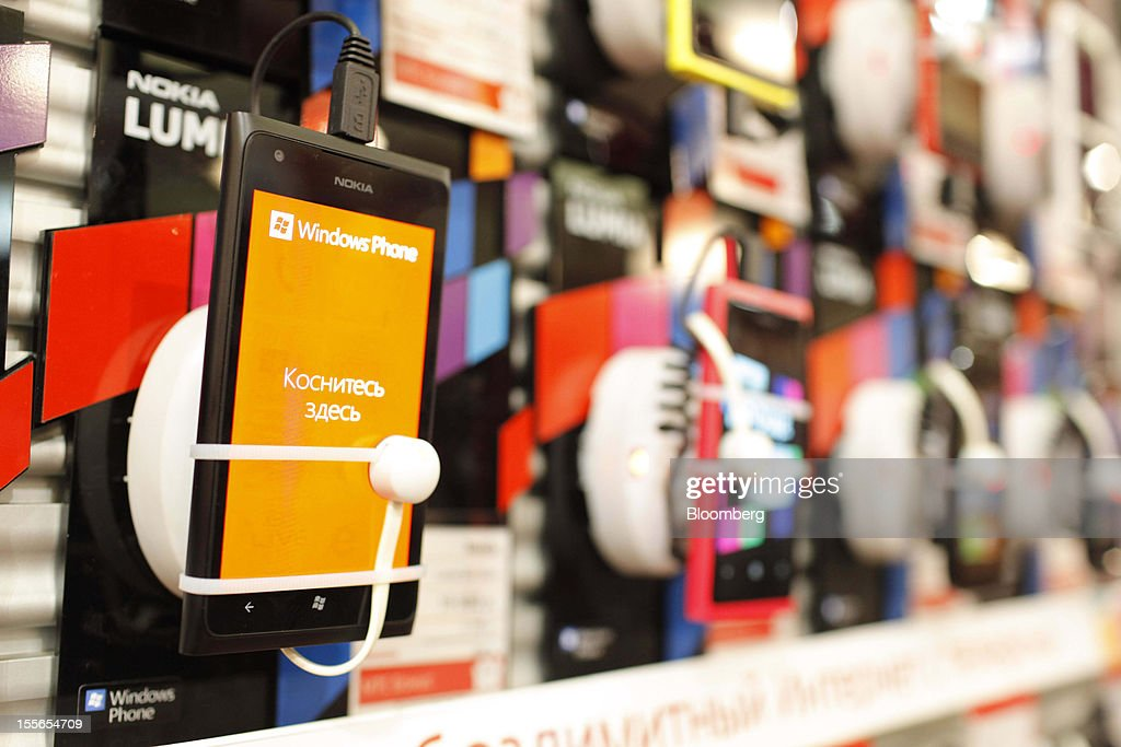 Windows-operated Nokia Lumia smartphones sit on display inside a new Mobile TeleSystems (MTS) store in Moscow, Russia, on Tuesday, Nov. 6, 2012. OAO Mobile TeleSystems will extend cooperation with Microsoft Corp. and plans to sell Windows devices in its 5,000 Russian stores. Photographer: Alexander Zemlianichenko Jr./Bloomberg via Getty Images