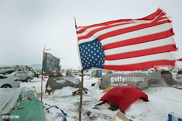 Winds whip across Oceti Sakowin Camp as blizzard conditions grip the area around the Standing Rock Sioux Reservation on December 6 2016 outside...