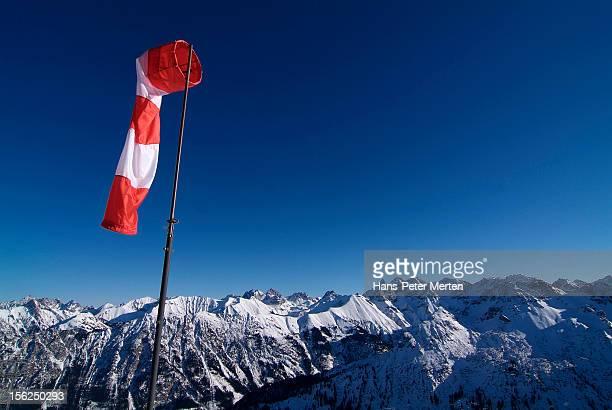windsock and mountain range, Allgäu Alps